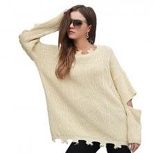 Oversizeowy sweter z rozcię...