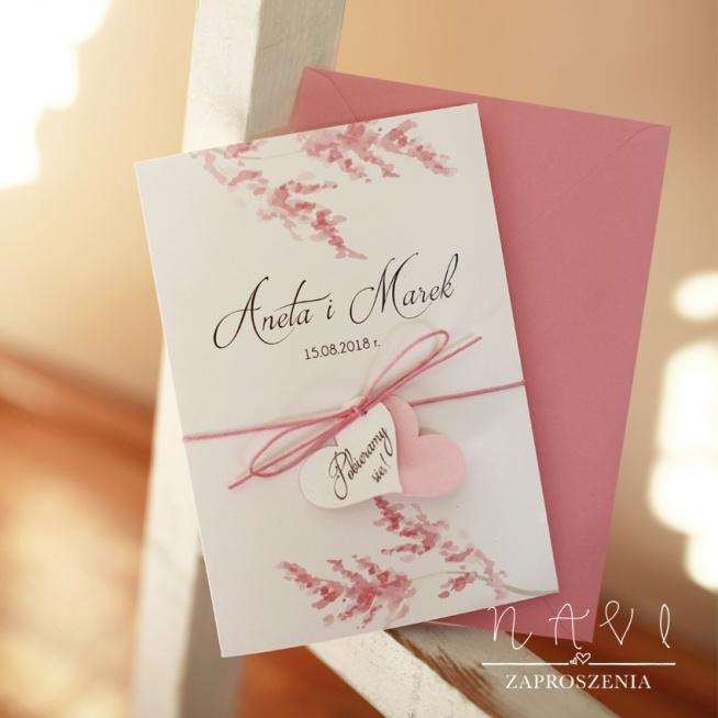 różowe zaproszenia ślubne