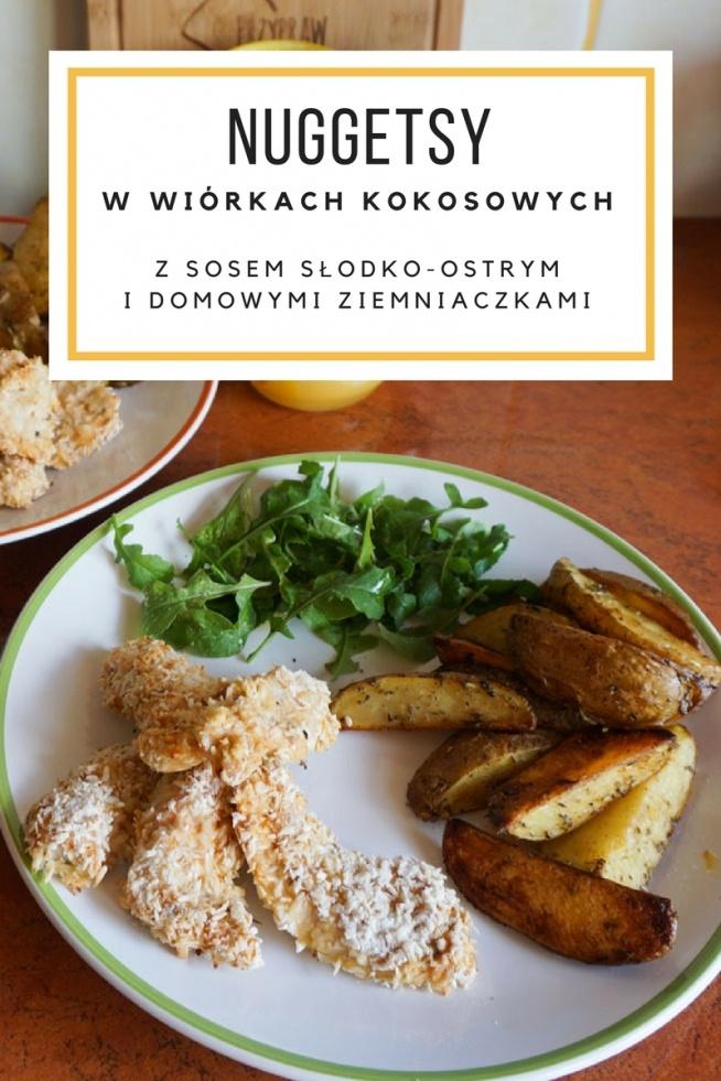 Nuggetsy z piekarnika w wiórkach kokosowych ze słodko-ostrym sosem i ziemniaczkami z piekarnika • origamifrog.pl