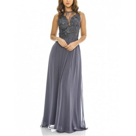 Grafitowa długa szyfonowa sukienka dla świadkowej z koronkową górą