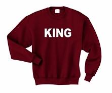 BLUZA DLA PAR KING - męska bluza walentynkowa dla Niego. Bluza męska z napisem KING - modna bluza dla Niego z nadrukiem King król. Bluza z kolekcji BLUZY DLA PAR ZAKOCHANYCH z k...
