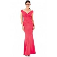 Koralowa długa sukienka na ...