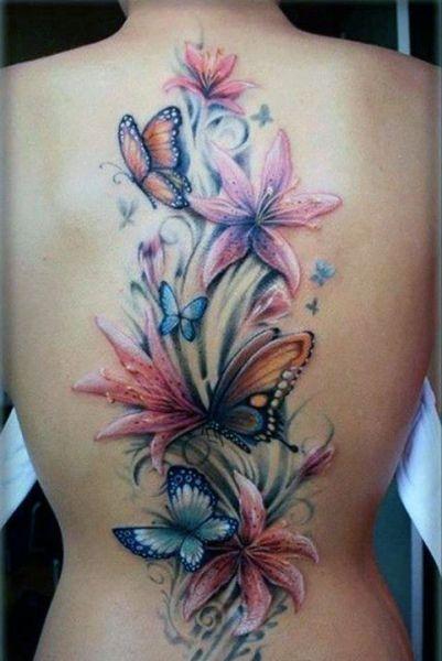Tatuaż Kolorowe Kwiaty I Motyle Na Tatuaże Zszywkapl