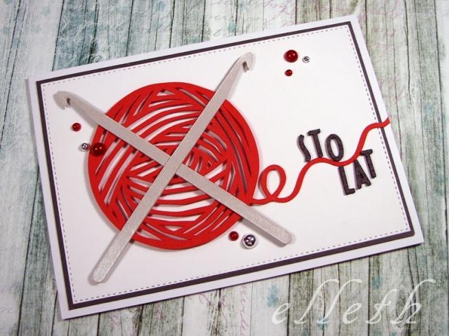 Ręcznie robiona kartka dla fanki szydełkowania;)