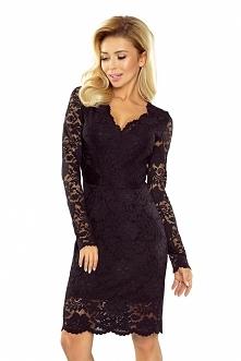 Czarna koronkowa sukienka z...