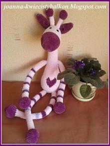 Szydełkowa, mięciutka żyrafa amigurumi, 73 cm :-)