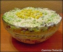 Sałatka na ostro- czyli por i kurczak w sosie czosnkowym 1 por połówka piersi z kurczaka 0.5 kg pieczarek kukurydza w puszce seler konserwowy 3 ząbki czosnku 4 łyżki majonezu 20...