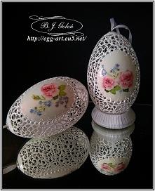 egg art pisanki ażurowe różyczki - Poniatowa