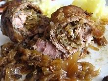 Zrazy kociewskie 1 kg mięsa wieprzowego (karkówka lub szynka) 40 dag kiszonej...
