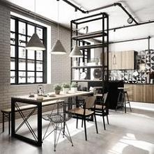 Biało czarna mozaika + drewno + metal + cegła