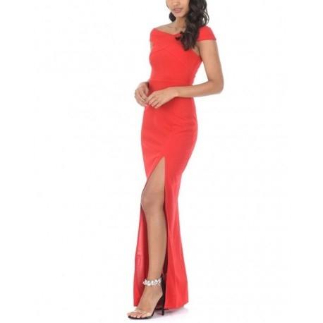 Kobieca czerwona długa sukienka z rozcięciem i ciekawym