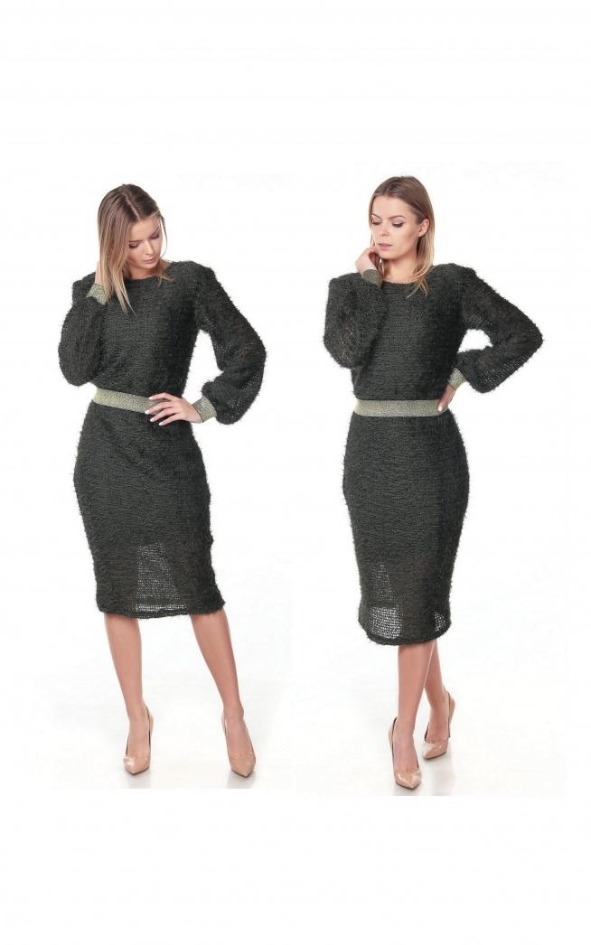 Moherkowa sukienka w kolorze khaki :)