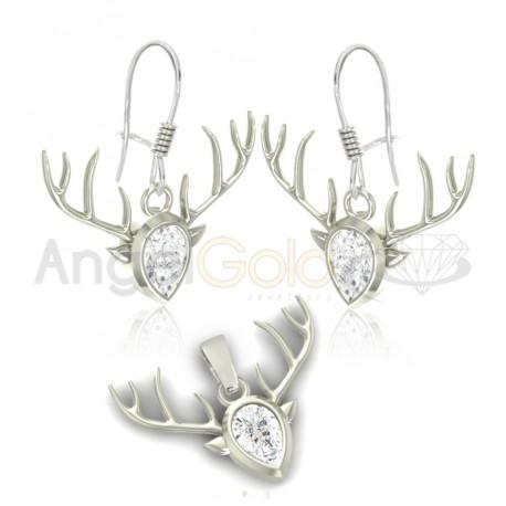 Świąteczny komplet biżuterii reniferki w całości wykonany ze srebra próby 925. Jak się Wam podoba?