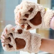 Cieplutkie rękawiczki w kształcie kocich łapek :D Idealne na zbliżającą się zimę oraz święta