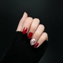 Więcej po kliknięciu w zszywkę!  Czerwony manicure - brokat i jarzębina | Jesienne zdobienie paznokci