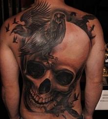 czaszka z ptakiem