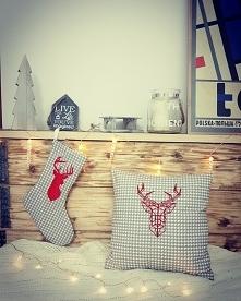 skandynawskie skarpety świąteczne i poduszki z jeleniem by Cudawianki Handmade
