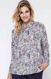 Ennywear 240170 bluzka Wygodna bluzka, wykonana z wzorzystej tkaniny, bluzka wiązana z tyłu na satynową tasiemkę