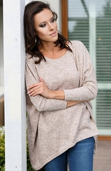 Lapasi L040 bluzka różowa Rewelacyjna bluzka damska, wykonana z miękkiej melanżowej dzianiny, fason typu oversize świetnie układa się na każdej sylwetce