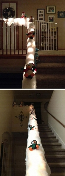 Dekoracja świąteczna w domu dwupoziomowym