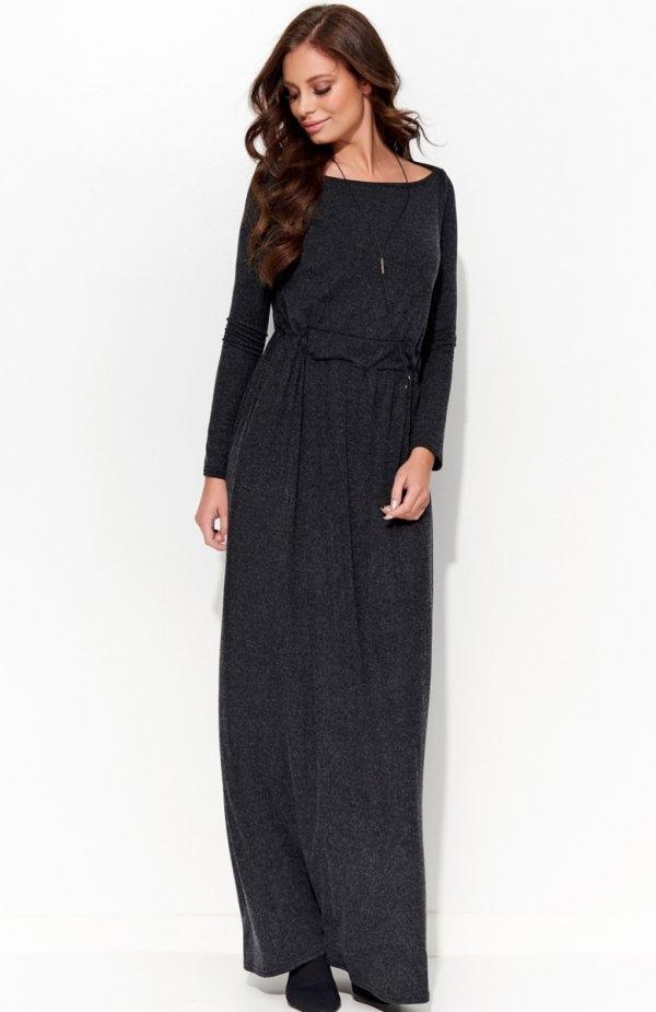 Folly F28 sukienka grafitowa Piękna sukienka, wykonana z komfortowego materiału, w talii ściągacz z wiązaniem
