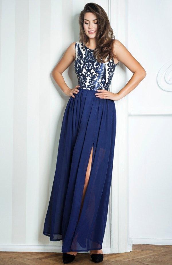 Monnom ALEXA II maxi granatowa sukienka Zjawiskowa wieczorowa sukienka, góra wykonana z gładkiej tkaniny ozdobionej piękna koronką, sukienka dopasowana cięciami angielskimi