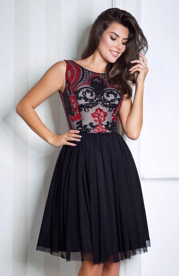 Monnom Cora midi sukienka czarna Elegancka sukienka na wyjątkowe okazje, dopasowana góra ozdobiona cekinową koronką, podszyta cielistym tiulem