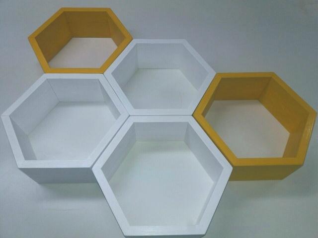 Biało żółte Półki Na ścianę Na Drewno Zszywkapl