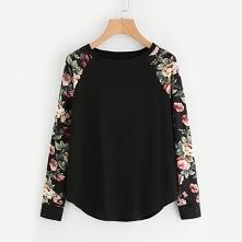 Casualowa bluza damska z kolorowymi kwiatami na rękawach. Kliknij w zdjęcie i...