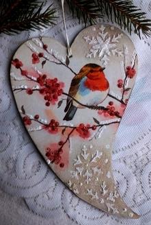 Zimowe serce z ptaszkiem