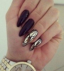 Nails black & gold