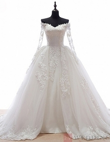 Appliques And Lace Ball Gown Tulle Court Train Wedding Dress With Long Sleeves