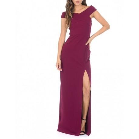 Kobieca fioletowa długa sukienka z rozcięciem i ciekawym dekoltem X