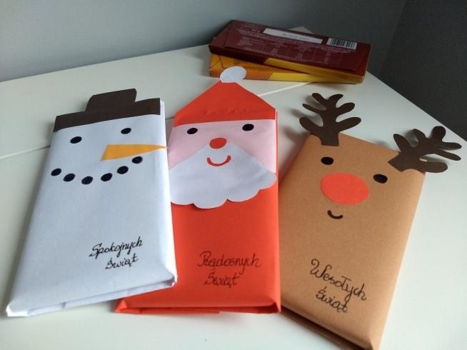 Sposób na opakowanie czekolady na święta. :)