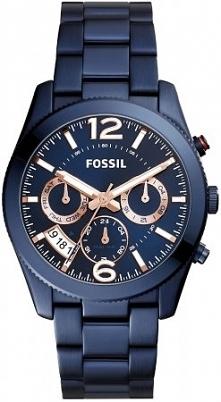 Kobaltowy damski zegarek Fossil na bransolecie