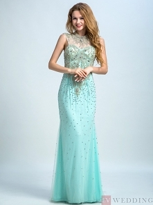 Mermaid&Trumpet High Neck Floor-Length Tulle Beaded Mint Timeless Prom&am...