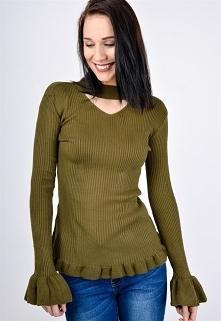 Sweter z chokerem falbana u dołu i na rękawie >> Sukienki.shop