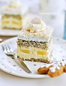 Ciasto makowe z kokosem i ananasem.