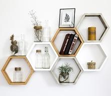 komplet półek drewnianych heksagon