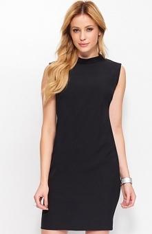 Makadamia M395 sukienka czarna Wizytowa sukienka, o klasycznym lekko dopasowanym fasonie, dekolt pod szyję