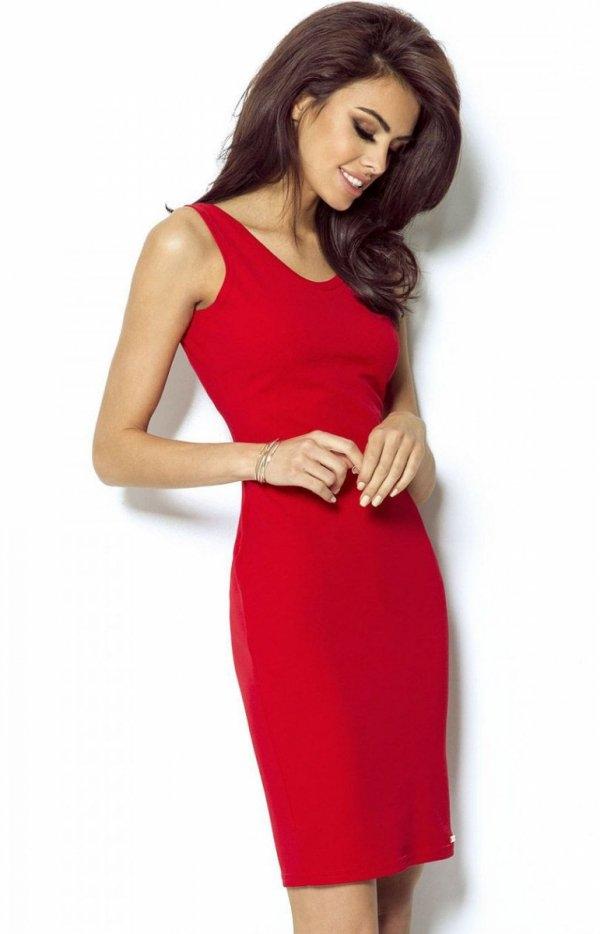 Ivon 206 sukienka czerwona Elegancka sukienka o ołówkowym fasonie, na szerokich ramiączkach, ponadczasowy fason sprawia, że możesz dopasować dowolne dodatki