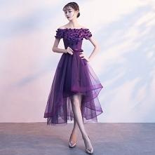Piękne Fioletowe Sukienki Koktajlowe 2017 Princessa Kokarda Aplikacje Kryształ Przy Ramieniu Bez Pleców Asymetryczny Sukienki Wizytowe