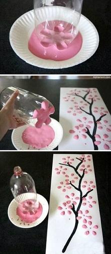 Efektowny pomysł na namalowanie pięknego drzewka :)
