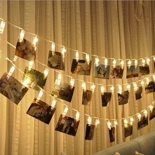 Ślubne dekoracje - świecące klamerki