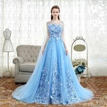 Eleganckie Błękitne Sukienki Na Bal 2018 Princessa Aplikacje Wycięciem Bez Pl...