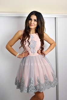 SUKIENKOWO.COM Sukienka różowo szara Scarlet