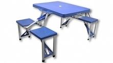 Składany stolik turystyczny wraz z 4 krzesłami GARDEN LINE idealny na wyjazdy, wczasy, piknik, camping, sprzedaż obwoźną. Wykonany z wysokiej jakości materiałów (aluminium + pcv...