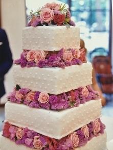 Mój tort weselny z żywymi kwiatami :*
