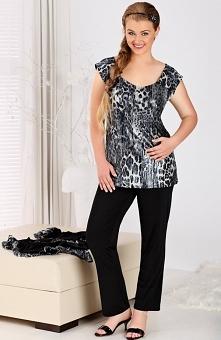 Andalea Natalie piżama Rewelacyjna dwuczęściowa piżamka, luźna bluzka w ciekawy zwięrzęcy nadruk, łódkowaty dekolt