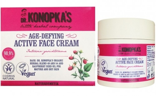 Aktywny krem do twarzy przeciwzmarszczkowy stworzony na bazie receptury Dr. Konopki dla skóry dojrzałej i suchej. Zawiera ekstrakt Nr 49 oraz Nr 54 Dr. Konopki oraz Olej z maliny. Nasyca skórę witaminami, minerałami i mikroelementami, odżywia i nawodnia skórę aby zapobiec starzeniu. W połączeniu z olejkiem maliny stymuluje regenerację i przywraca naturalną równowagę skóry, pozostawiając skórę jędrną i sprężystą.  Posiada certyfikat BDIH COSMOS Natural Standard  Zawiera 98,9% składników pochodzenia roślinnego.  Posiada Certyfikat Vegan.  Do stworzenia preparatu nie użyto żadnych składników pochodzenia zwierzęcego.